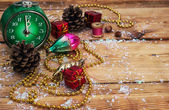 Postcard with Christmas ornaments — Stock Photo