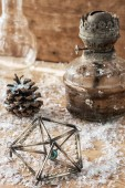 Christmas toys,pine cones — Stock Photo