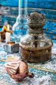 Old-fashioned kerosene lamp — 图库照片