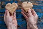 Two symbolic wooden heart — Stock Photo