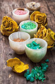 Sea aromatic salt for spa treatments — Stock Photo