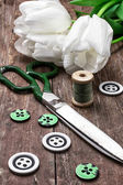 Sewing accessories from threads and buttons  — Zdjęcie stockowe