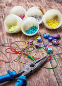 Crafts with beads — Stock Photo