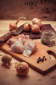 Fillet chicken meat and onions — Stockfoto