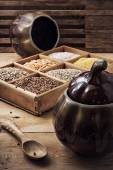 Cereals in a wooden box in rustic style — Stock Photo