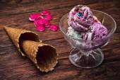 Ice cream in  bowl and two waffle cup — Stock Photo