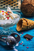 Coconut ice cream in bowl and two waffle cup — Stock Photo