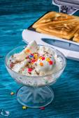 Baked toast smeared ice cream in raspberry jam  — Stock Photo