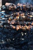 Shish kebab on the extinct fuming fire — Stock Photo