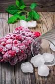Frozen ripe raspberry — Stock Photo