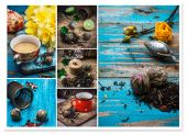 Collage tea brew  — Stock Photo