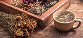 Tea brewed with chamomile in ceramic mugs — Foto de Stock