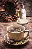 Healing with chamomile broth — Stock Photo