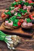 Bruschetta with vegetables and meat — Stock Photo