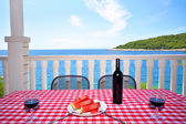 Sea view from terrace in Hvar — Stock Photo