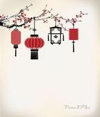 Chinese Lantern hang on cherry tree — Stock Vector