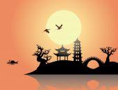 China sunset — Stock Vector