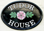 Tudor house name plate — Stock Photo