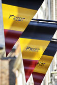 Flags advertising a Belgian snack bar — Stock Photo