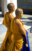 Two monks strolling — 图库照片