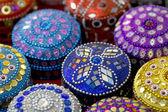 Multicoloured round jewellery caskets — ストック写真