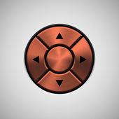 Abstract Joystick Button with Bronze Metal Texture — Vecteur