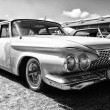 Постер, плакат: PAAREN IM GLIEN GERMANY MAY 19: Full size car Plymouth Fury 1961 black and white The oldtimer show in MAFZ May 19 2013 in Paaren im Glien Germany