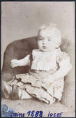 A vintage portrait of a baby. The inscription at the hands of German: Little Joseph — Stock Photo
