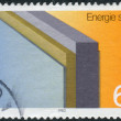 Postage stamp printed in Germany, dedicated to the conservation of energy, shows insulated wall — Stock Photo #52153909