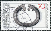 Postage stamp printed in Germany, shows the Archaeological Treasures: Celtic silver torque, 2nd-1st centuries BC — Stock Photo