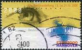 Postage stamp printed in Germany, dedicated to the EXPO 2000, Hannover, depicts the eye and emblem — Foto Stock