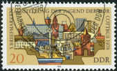 Postage stamp printed in Germany (GDR), shows a modern and historical buildings of the city Cottbus — Stock Photo