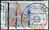 Postage stamp printed in Germany, dedicated to the International radio exhibition Berlin, shows the symbol of the exhibition, radio tower, television — Stock Photo