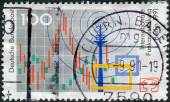 Postage stamp printed in Germany, dedicated to the International radio exhibition Berlin, shows the symbol of the exhibition, radio tower, television — Stock fotografie