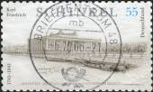 Postage stamp printed in Germany, dedicated to the 225th anniversary of the birth of Karl Friedrich Schinkel, depicts The Altes Museum (Old Museum) in Berlin — Stock Photo