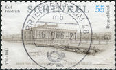 Postage stamp printed in Germany, dedicated to the 225th anniversary of the birth of Karl Friedrich Schinkel, depicts The Altes Museum (Old Museum) in Berlin — Stockfoto