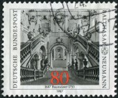 Postage stamp printed in Germany, dedicated to the 300th anniversary of the architect Balthasar Neumann, depicts Archbishop's Residence at Wurzburg — Foto Stock