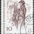 Постер, плакат: Postage stamp printed in Germany West Berlin shows a drawing of The Newspaper Man by Christian Wilhelm Allers