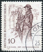 """Postage stamp printed in Germany (West Berlin), shows a drawing of """"The Newspaper Man"""", by Christian Wilhelm Allers — Stock Photo"""