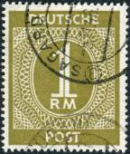 Postage stamp printed in Germany, shows the face value stamps — Stock Photo