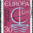 Postage stamp printed in Germany, shows a stylized image of a sailboat, the inscription CEPT — Stock Photo #53121253