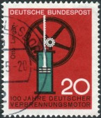 Postage stamp printed in Germany, dedicated to the 100th anniversary of German internal combustion engine, Nikolaus August Otto and Eugen Langen — Foto Stock
