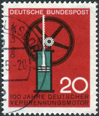 Postage stamp printed in Germany, dedicated to the 100th anniversary of German internal combustion engine, Nikolaus August Otto and Eugen Langen — Stockfoto
