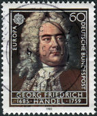 Postage stamp printed in Germany, shows portrait of the composer George Frideric Handel — Stock Photo