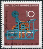 Postage stamp printed in Germany, dedicated to the 150th anniversary of the Koenig printing press — Stockfoto