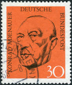Postage stamp printed in Germany, shows the first post-war German Chancellor, Konrad Adenauer — Stock Photo