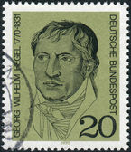 Postage stamp printed in Germany, shows a German philosopher, and a major figure in German Idealism, Georg Wilhelm Friedrich Hegel — Stock Photo