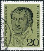 Postage stamp printed in Germany, shows a German philosopher, and a major figure in German Idealism, Georg Wilhelm Friedrich Hegel — Stock Photo