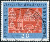 Postage stamp printed in Germany, dedicated to the Millennium of town of Buxtehude — Foto Stock