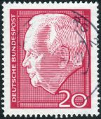 Postage stamp printed in Germany, shows the President of West Germany, Heinrich Lubke — Stock Photo